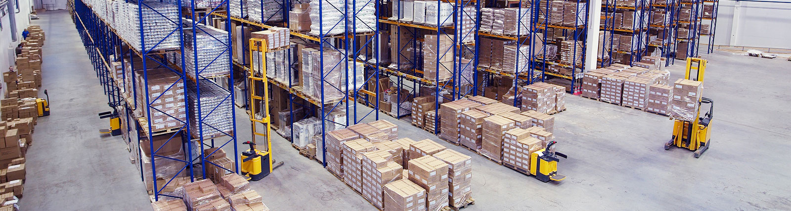 warehouse with aisles of rack